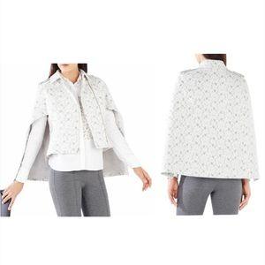 Bcbgmaxazria White lace floral Jameson cape jacket